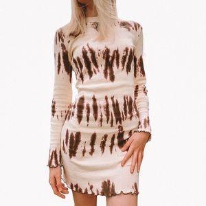 ZARA | Tie Dye Knit Stretch Dress Lettuce Edge S